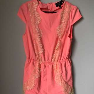 Orange lace play suit