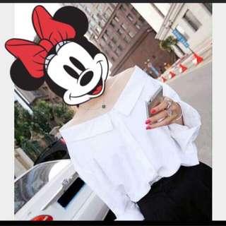 🚚 韓版✔️平口純白襯衫上衣