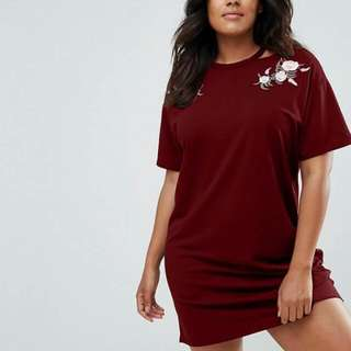 New Arrival  💋Embroidered Floral Plus Size Tee Shirt Dress 💫Cotton type, soft comfy  💫Embroidered Floral at sides 💫Cutout neckline  💫Free size fits up to XXL 💫3 colors  💫Good quality
