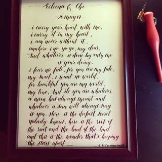 Handwritten wedding vows in modern calligraphy style
