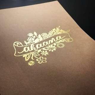 Hand embossed notebooks