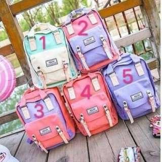預購-雙色背包 $240   款式:1~5 備註  尺寸:長27 高36 厚12  韓系當道潮流包款 輕巧方便百搭各種單品 日韓系迷的必備款