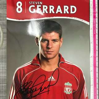 Liverpool - Autographed Steven Gerrard photo card from Anfield