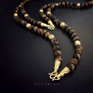 14K Gold Plated Over 925 Sterling Silver Yellow Tiger Eye Amulet Necklace [5A] 925純銀鍍14K金黃虎眼石佛牌項鍊