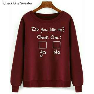 Sweater Check One Maroon