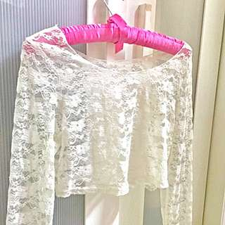 Sheer lace cropped top
