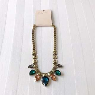 Pink, Blue, Green, and Grey Gemstones Statement Necklace