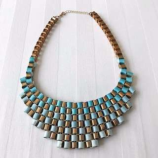 Gold and Light Blue Hombre Ribbon Statement Necklace