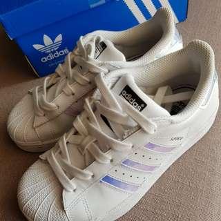 Adidas Superstar Trainers Iridescent White Metal Silver Kids Childrens Girls Boys B27504