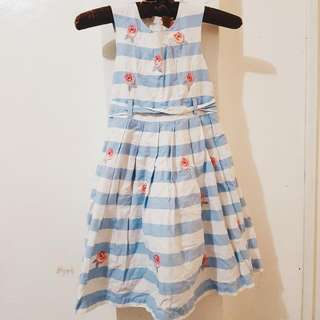 Juniors White Blue Dress