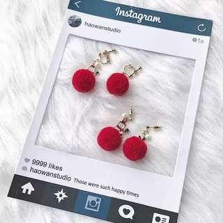 《早衣服》1212聖誕節🎄可愛應景紅色絨毛球不對稱雪人聖誕節垂墜式耳環夾式耳環耳針耳夾(預)