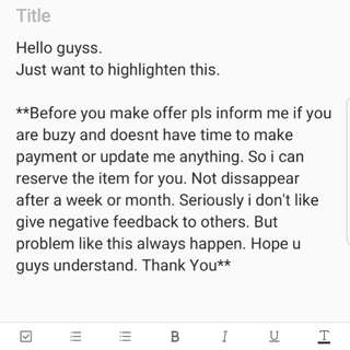 Please read before make an offer.
