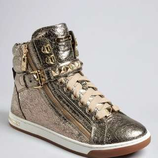 Womens Michael Kors Gold Side Zipper Gold Studded High Tops Size 9