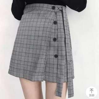 🚚 全新 格紋綁帶短裙