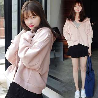 CROPPED PINK HOODED JACKET