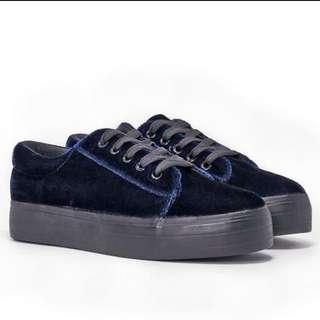 Nastygal Crushed Velvet Sneakers Size 9 Brand New