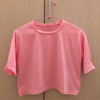 粉色短素T