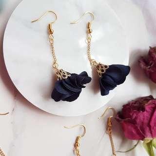Navy Blue Korean floral tassels earrings