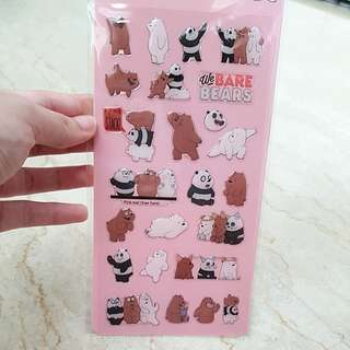 BNIP Authentic Miniso We Bare Bear Crystal Stickers