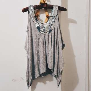 Charlotte Russe Gray Sequin Sexy Top