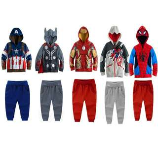 Superheroes jkt set/height 100 to 150cm