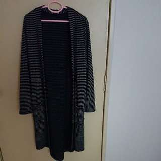 [PRELOVED] Long Cardigan Black Stripes