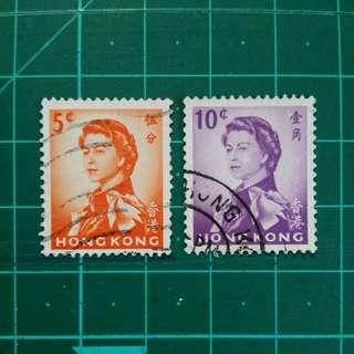 [贈品]1962 伊莉莎白二世第二組通用票 舊票兩枚