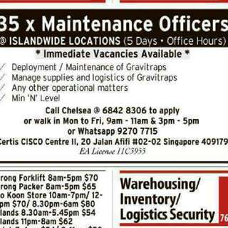 Cisco Part Time Maintenance Officer Staying North Side
