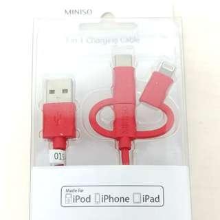 [包郵] 三合一 Type C + android + iphone 線 2.4A 快速 快充 充電線 數據線 USB 線 1米長 現貨