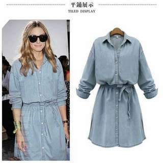 New Arrival :) :) 💋Denim Polo Dress with Waisted String 💫Denim fabric, soft cloth  💫Side slit design  💫Waist string included  💫Free size, loose fits up to L 💫2 colors 💫Nice quality
