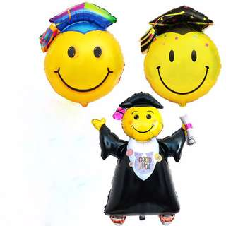 Graduation Large Balloons Smile Face Doctor Cap Party Balloons