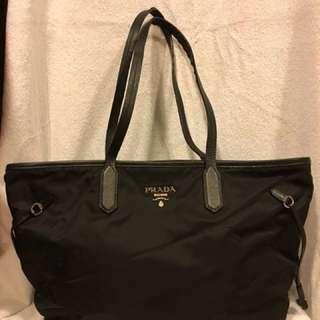 Prada Canvas Tote Bag - Black