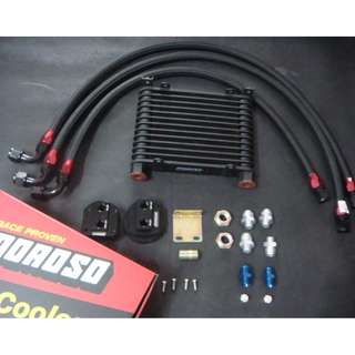 Moroso AN10 Oil Cooler 13 rows Relocation   kit with black Nylon braided hose & adapter model 34752