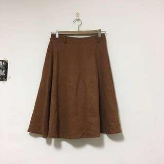 冬天棕色古著麂皮裙