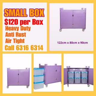 Metal box with wheels for storage