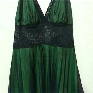 Bottle Green Satiny Dress