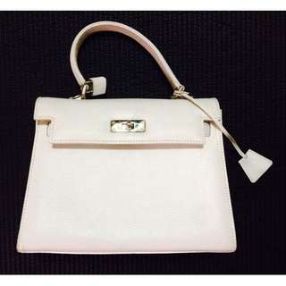White Leather Handbag - FABRIS - IMPORTED