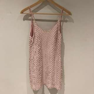 Bec and bridge pleather diamond texture dress baby pink Size 8