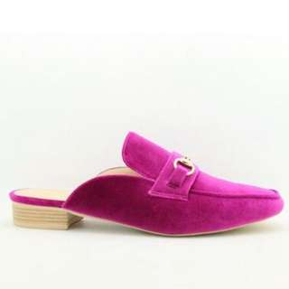 Bozzy backless mule loafers size 38 (fushia and black)