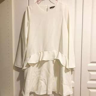 Zara波浪白色洋裝(全新)