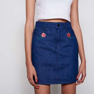 BNWT Lazy Oaf Rose Denim Skirt