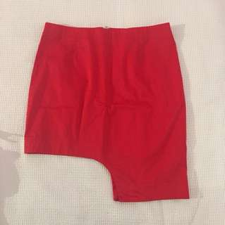 BARDOT Red Asymmetrical Skirt