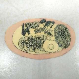 粉紅盤咖哩飯貼紙