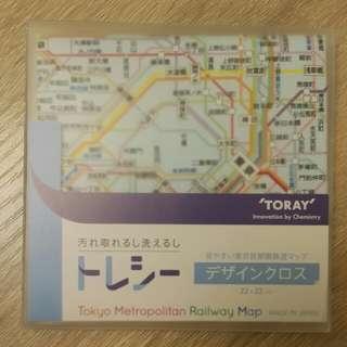 東京地鐵地圖抹布 眼鏡布 Tokyo metro map cloth