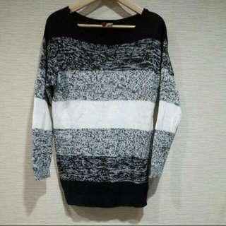 H&M黑白條紋針織毛衣