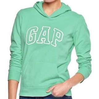 全新 Gap 薄荷綠 長袖帽T 長袖上衣 衛衣 大學T