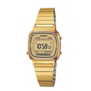 Casio Vintage Women`s Gold Plated Stainless Steel Watch