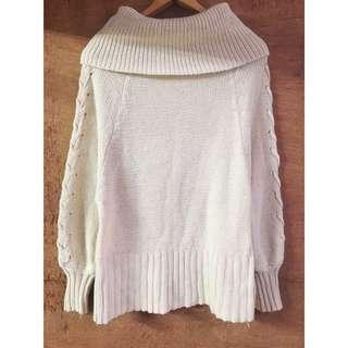 日本帶回🇯🇵大翻領交叉綁帶針織毛衣