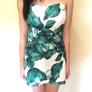 Jungle Green and White Playsuit - YUAN brand size S