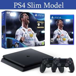 PS4 Slim Console 500GB FIFA 18 Bunlde with 2 Controllers and 27 Months Local Warranty
